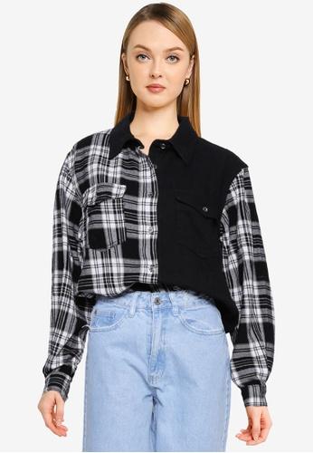 MISSGUIDED black Petite Oversized Check Denim Shirt A106AAA5A7D430GS_1