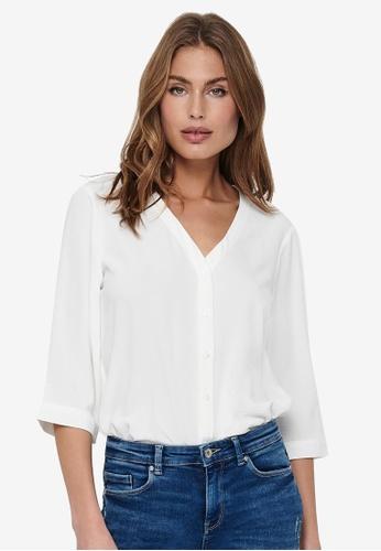 JACQUELINE DE YONG white Capote 3/4 Shirt 8FD10AA11406D2GS_1