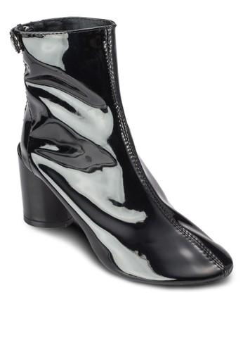 漆皮低粗跟踝靴zalora是哪裡的牌子, 女鞋, 鞋