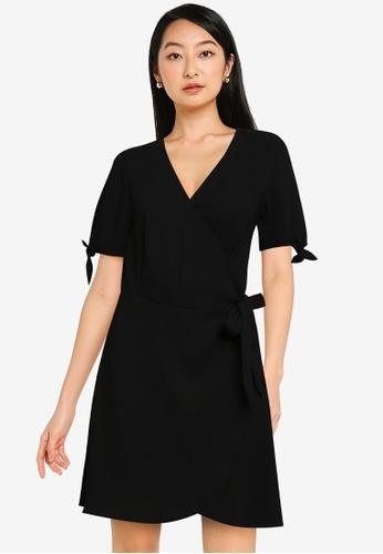 ZALORA BASICS black Tie Sleeve Wrap Dress E4F98AA079FA36GS_1