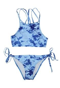 Sexy High Neck Tie Dye Strappy Two Piece Swimwear