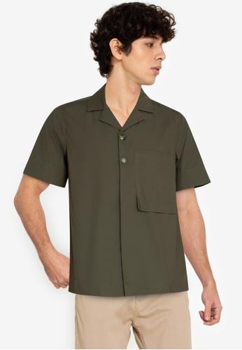 ZALORA BASICS green Long Rectangle Pocket Shirt 511A2AA70B90CAGS_1