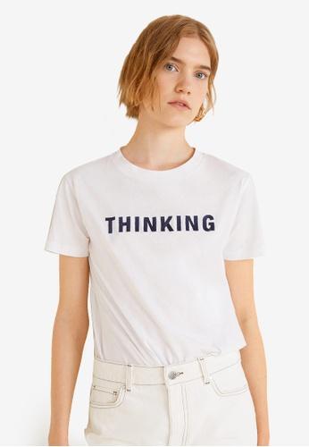 Mango white Organic Cotton Message T-Shirt 75600AA495D2FEGS_1