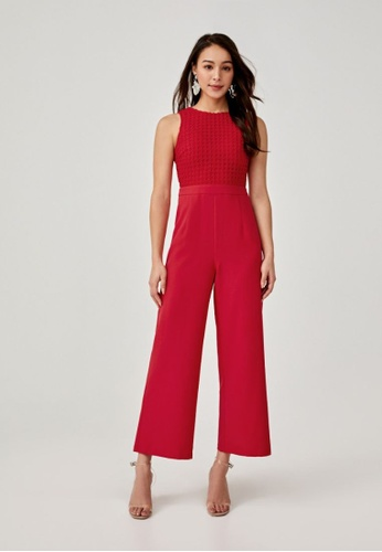 Love, Bonito red Augustina Lace Overlay Jumpsuit 43C14AA6D3449FGS_1