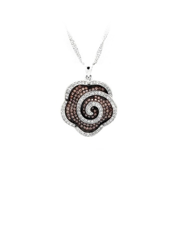 Glamorousky silver 925 Sterling Silver Flower Pendant with Brown and White Cubic Zircon and Necklace C70B8AC98333AFGS_1