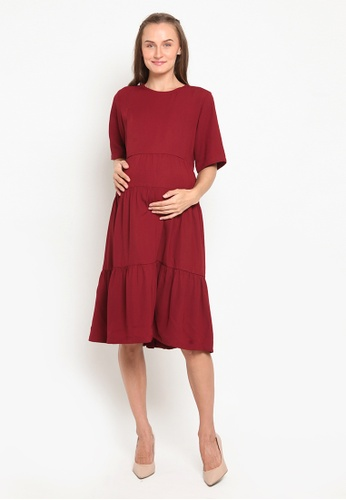 Chantilly red Dress 2in1 Pregnant / Breastfeeding with Slimming Effect 96BA8AA61F6633GS_1