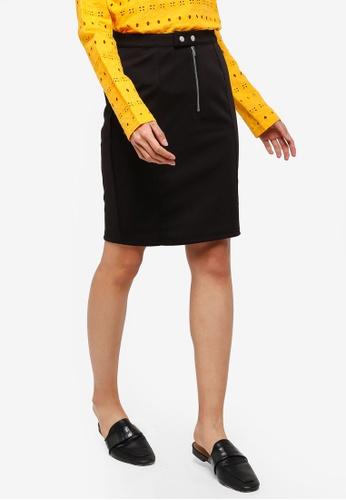 ICHI black Kate Slim Skirt 93B98AAD14B0F7GS_1