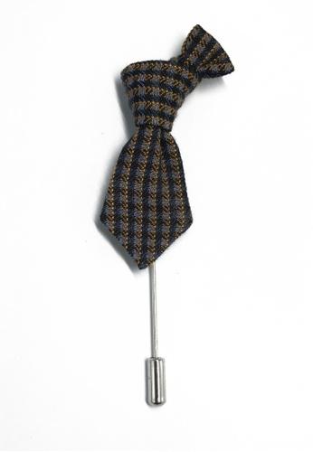 Splice Cufflinks Blue & Grey Checked Little Tie Lapel Pin SP744AC84KXFSG_1