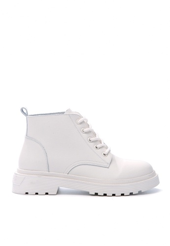 Twenty Eight Shoes white Top Layer Cowhide Lace Up Boots VB829 79CE2SHB0C1E8BGS_1