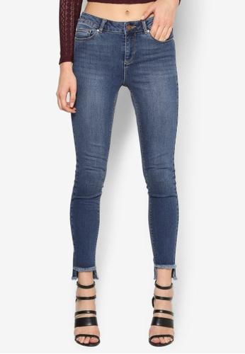 Miss Selfridge blue Lizzie Mid Wash Step Hem Skinny Jeans MI665AA01LCSMY_1