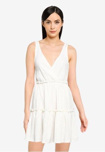 Springfield white Short Dress With Flounced Skirt 128B5AA10CD4D2GS_1