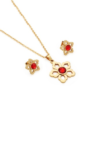 Glamorousky red Fashion and Elegant Plated Gold Hollow Flower 316L Stainless Steel Necklace and Stud Earring Set with Red Cubic Zirconia 3B2AAACB5C7FA7GS_1