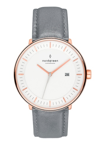 Nordgreen grey and gold Nordgreen Philosopher Rose Gold 36 mm - Grey Leather Watch D11D0AC5C83C23GS_1