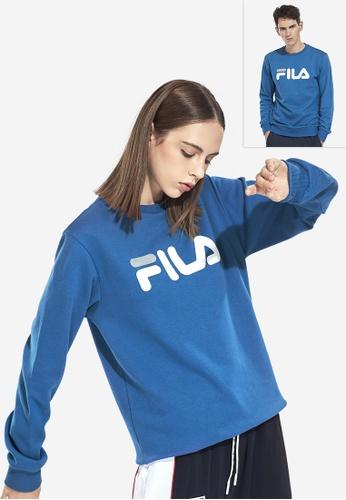FILA navy Korea Collection Unisex FILA Logo Sweatshirts 76738AA054678DGS_1
