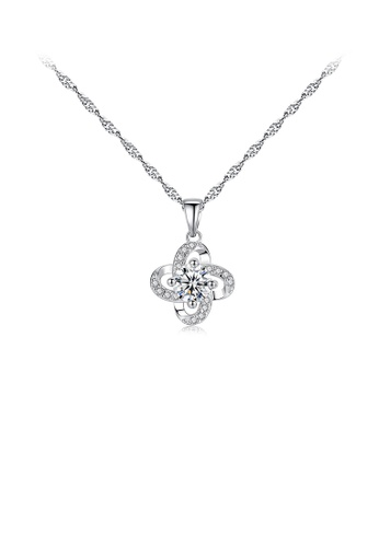 Glamorousky white 925 Sterling Silver Fashion and Elegant Four-leaf Clover Pendant with Cubic Zirconia and Necklace 08196AC3AC5648GS_1
