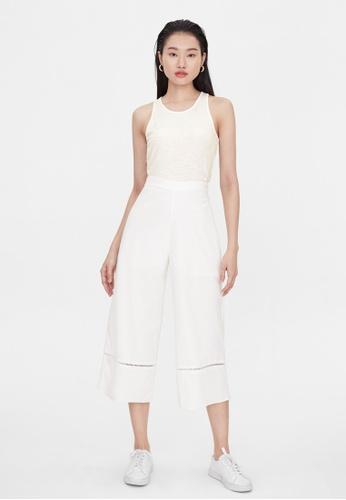 Pomelo white High Waist Eyelet Pants - White 6CBA8AA5CAC057GS_1