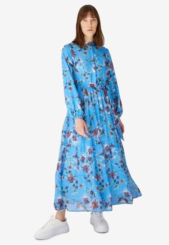 Trendyol blue Blue Floral Chiffon Maxi Dress F97BAAA497EBDCGS_1