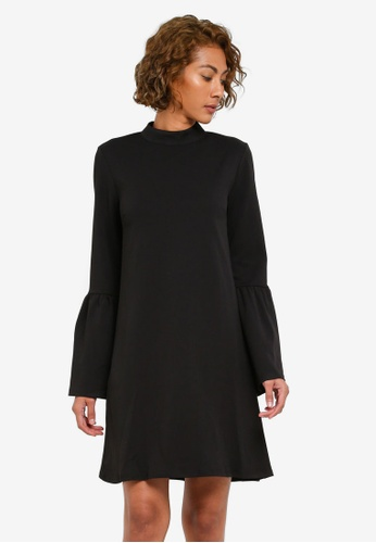 WAREHOUSE black Flute Sleeve Crepe Dress WA653AA0RZICMY_1