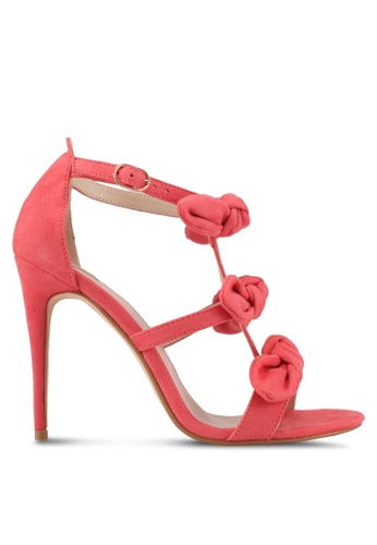 Velvet pink Bow Strappy Heels 2F0A6SHAB534AEGS_1