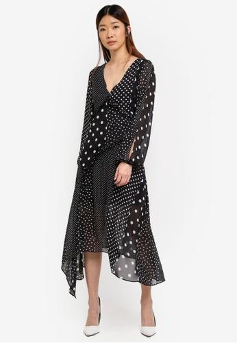 Miss Selfridge black Mixed Spot Midi Dress DC7AEAA99DF07BGS_1