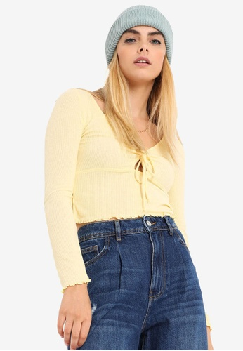 PIMKIE yellow Cutout Tie Front Long Sleeve Crop Top 83D16AAB1A2415GS_1
