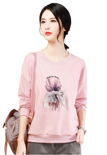 A-IN GIRLS pink Loose Round Neck Printed Sweatshirt T-Shirt F523EAA75F6F9FGS_1