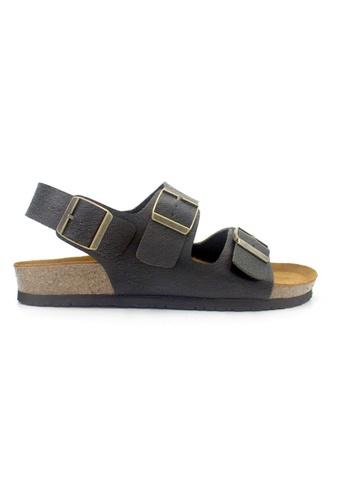 SoleSimple 黑色 Milan - 黑色 百搭/搭帶 全皮軟木涼鞋 BD378SH386F84CGS_1