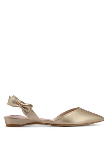 Velvet gold Bow Detail Ballerina 35455SH404E893GS_1
