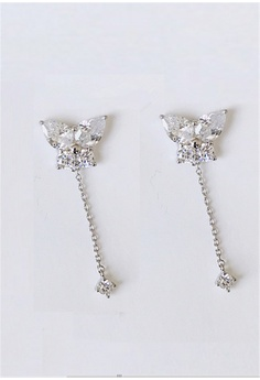 12302e5ba7 Crystal Korea Fashion silver Korea Made Sensitive Elegant Flash Diamond  Butterfly Earrings AF956AC3421F93GS 1