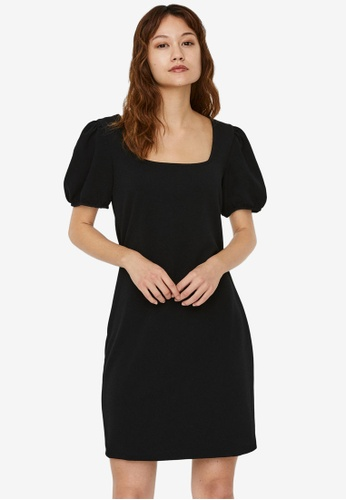 Vero Moda black Poppy Square Neck Puff Sleeves Dress AAA9EAA703D2E3GS_1