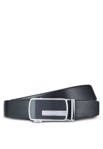 UniqTee black Leather Dress Belt With Automatic Buckle UN097AC89ATUMY_1