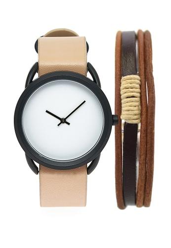 LEUPP beige Ueno Watch And Bracelet Pack C8877AC18F9FA7GS_1