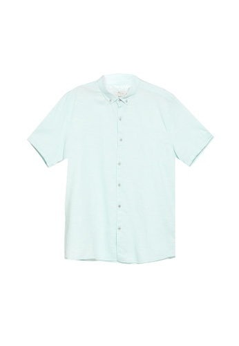 LC Waikiki green Slim Fit Dobby Short Sleeved Polin Shirt 0A784AAE6003EEGS_1