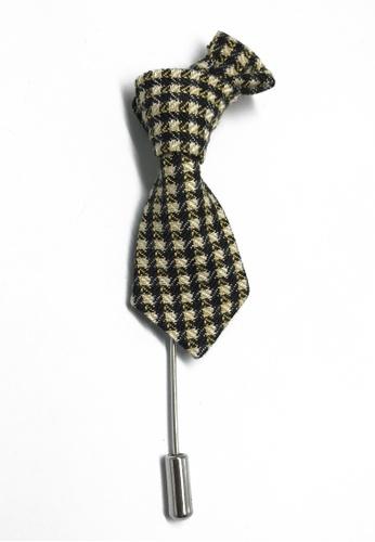 Splice Cufflinks Black & Pale Yellow Checked Little Tie Lapel Pin SP744AC82KXHSG_1