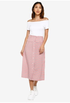 d6b0484c8f Something Borrowed Button Down Midi Skirt S$ 39.90. Sizes XS S M L XL