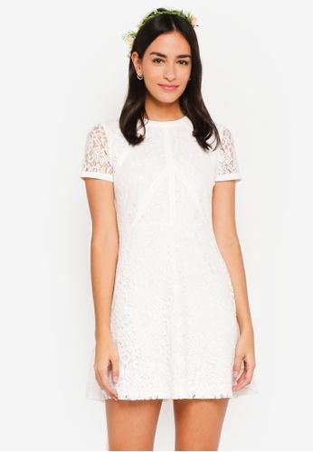 ZALORA white Bridesmaid Fit And Flare Lace Panel Dress C647FAA9207C8CGS_1