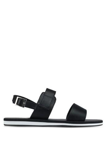ZALORA black Faux Leather Sandals 7EB8CSH8712473GS_1
