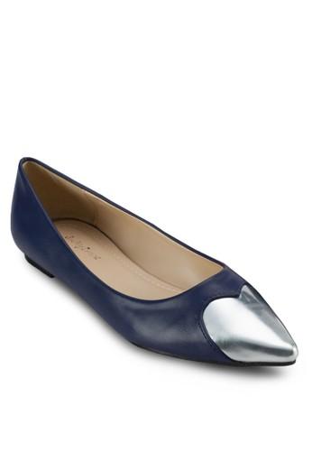 金屬心形尖zalora時尚購物網的koumi koumi頭平底鞋, 女鞋, 芭蕾平底鞋