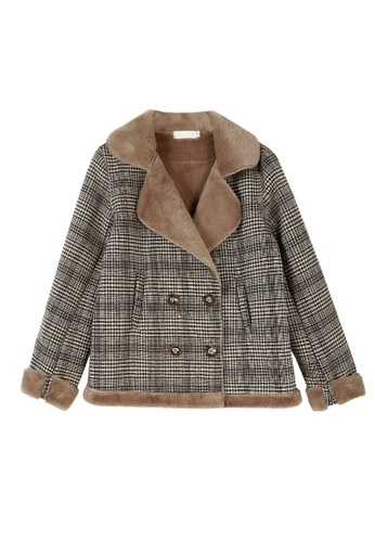 Its Me brown Checkered Plus Woolen Coat 1CAF1AA2CF436AGS_1