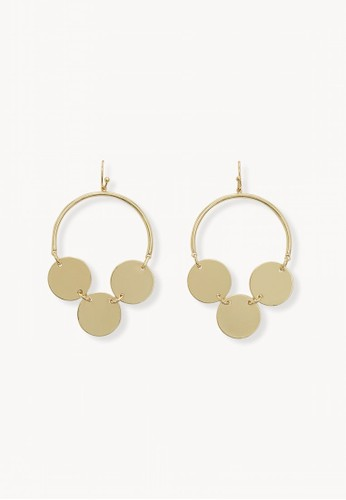Pomelo gold Triple Circle Plate Hoop Earrings - Gold 39F9FAC030BF42GS_1