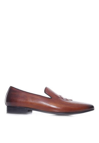 Zeve Shoes brown Zeve Shoes Loafer Slipper - Cognac Tan Wolf Embossed Leather (Hand Painted Patina) 8F6A8SHA88E603GS_1