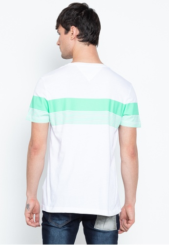 Tommy Hilfiger Block Stripe Mens T-shirt Spring Bud Bright White All Sizes