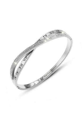 CELOVIS 銀色 CELOVIS - Vera 羅馬數字交叉款鋯石手鐲(銀色) DFFCCAC889E120GS_1