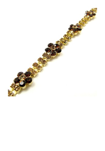 Glamorousky brown Elegant Flower Bracelet with Brown Austrian Element Crystal EBB3FAC620486EGS_1