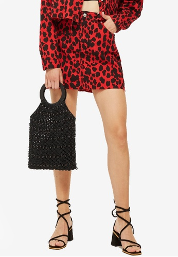 1c0490888707 Buy TOPSHOP Petite Red Leopard Print Denim Skirt Online on ZALORA ...