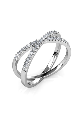 Her Jewellery silver Swarovski® Crystals - X Ring (18K White Gold Plated) Her Jewellery HE581AC0R9UVMY_1