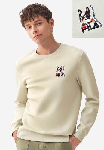 FILA beige Online Exclusive Theme Printed FILA Logo Sweatshirt 8D3DFAA6C1510BGS_1