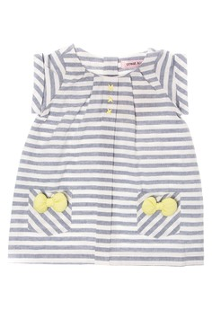 Infant Shorts Sleeve Roundneck Dress with Pockets