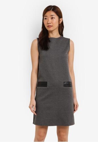 ZALORA grey Shift Dress With PU Welt Pockets 2F05AAACB15C1FGS_1