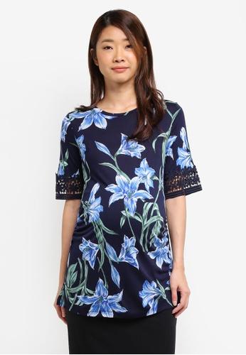 Dorothy Perkins blue Maternity Blue Lace Insert Tie Tee 44FF3AAD50009EGS_1